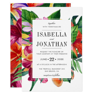 Tropical Hibiscus, Plumeria & Palm | Wedding Card