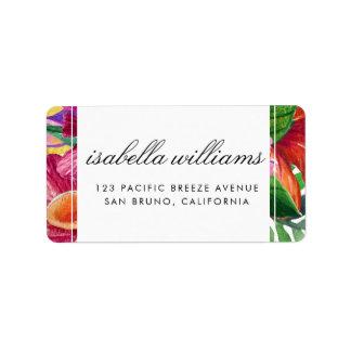 Tropical Hibiscus, Plumeria & Palm | Wedding Label