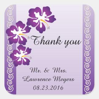 Tropical Hibiscus Theme | Purple Square Sticker
