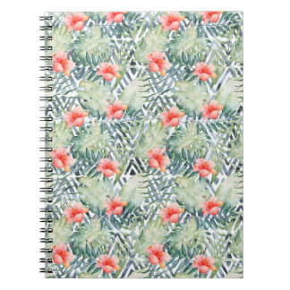 Tropical Hibiscus Tribal Floral Note Book