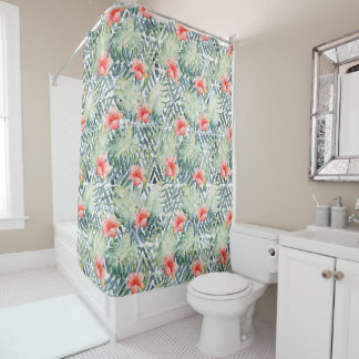 Tropical Hibiscus Tribal Floral Shower Curtain