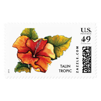 Tropical Hibiscus USPS Postal Stamp by Talin