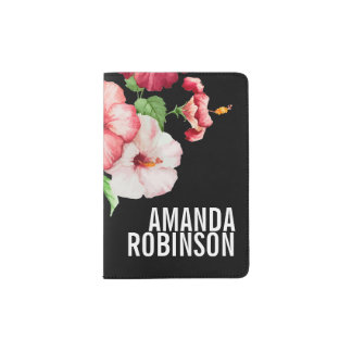 Tropical Hibiscus Vintage Florals Bold Text Passport Holder