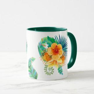 Tropical Hibiscus Watercolor Floral Mug