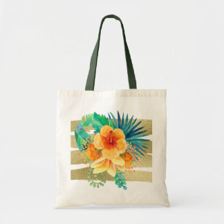 Tropical Hibiscus Watercolor Floral Tote Bag