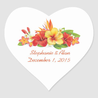 Tropical Hibiscus Wedding Stickers