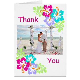 Tropical Hibiscus - Wedding Thank You Note Card