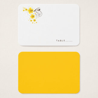 Tropical Hibiscus Yellow Beach Wedding Place Card
