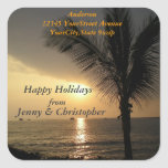 Tropical Holidays and Sunsets Return Address Square Sticker