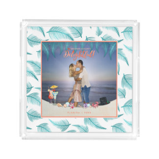 Tropical Holidays   Bright Colors Teal   Photo Acrylic Tray