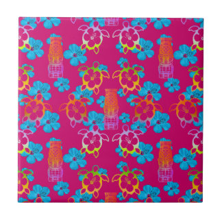 Tropical Honu And Tikis Small Square Tile