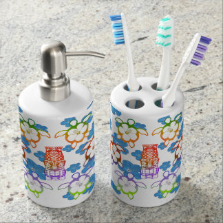 Tropical Honu And Tikis Soap Dispenser And Toothbrush Holder