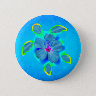 Tropical Honu Turtle and Hibiscus 6 Cm Round Badge