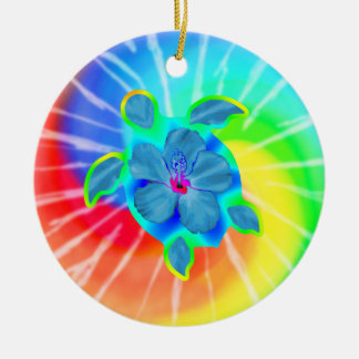 Tropical Honu Turtle and Hibiscus Christmas Ornament