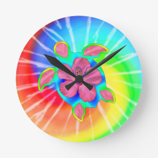 Tropical Honu Turtle and Hibiscus Clocks