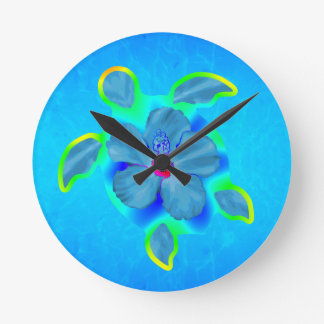 Tropical Honu Turtle and Hibiscus Round Clock
