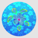 Tropical Honu Turtle and Hibiscus Round Sticker