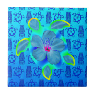 Tropical Honu Turtle and Hibiscus Small Square Tile