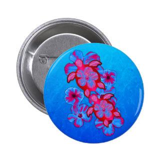Tropical Honu Turtles And Hibiscus Flowers 6 Cm Round Badge