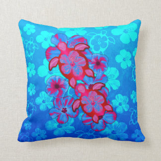 Tropical Honu Turtles And Hibiscus Flowers Cushion