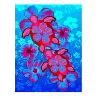 Tropical Honu Turtles And Hibiscus Flowers Postcard