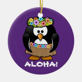 Tropical Hula Hawaiian Penguin Christmas Ornament