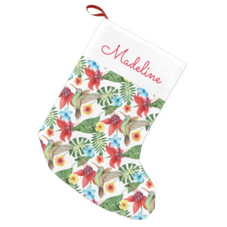 Tropical Hummingbird | Add Your Name Small Christmas Stocking
