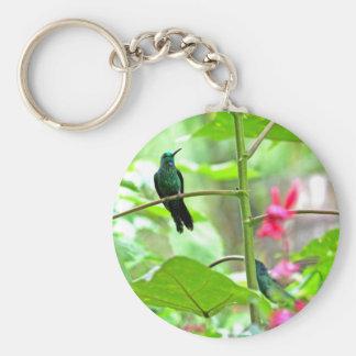 Tropical Hummingbird and Flowers Key Chain