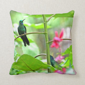 Tropical Hummingbird and Flowers Throw Pillow