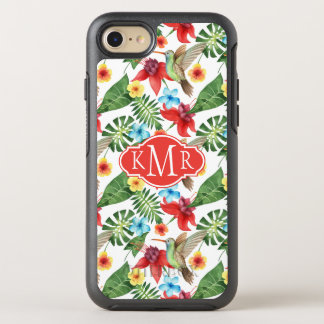 Tropical Hummingbird   Monogram OtterBox Symmetry iPhone 8/7 Case