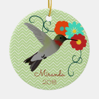 Tropical Hummingbird Personalized Christmas Ornament