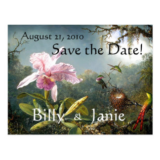 Tropical Hummingbirds Save the Date Postcard