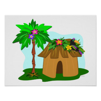 Tropical Hut, Palm Tree, and Toucan Poster