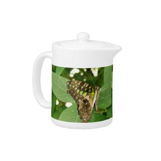 Tropical Iridescent Green Butterfly Teapot