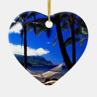 Tropical Island Afternoon Nap Kauai Hawaii Ceramic Heart Decoration