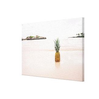 Tropical Island Beach Accent Pineapple Romantic Canvas Print