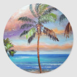 Tropical Island Beach Round Stickers