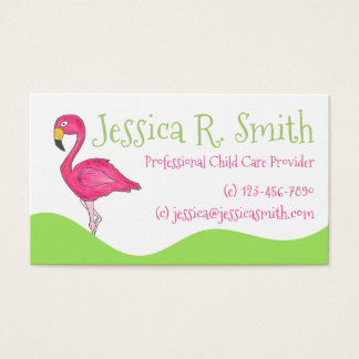 Tropical Island Cartoon Hot Pink Flamingo Bird Business Card