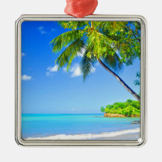 Tropical island christmas ornament
