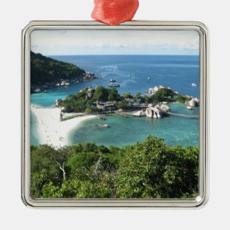 Tropical island christmas ornament