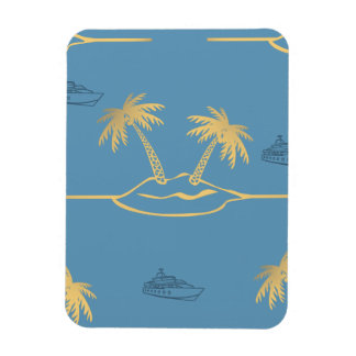 Tropical Island Cruise Rectangle Magnets