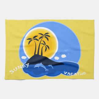 TROPICAL ISLAND  DOLPHINS KITCHEN TOWEL