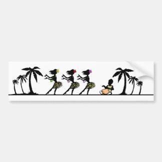 Tropical Island Hula Dancers Bumper Sticker