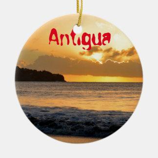 Tropical island in Antigua Round Ceramic Decoration