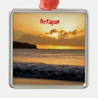 Tropical island in Antigua Silver-Colored Square Decoration