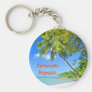 Tropical island in Dominican Republic Basic Round Button Key Ring