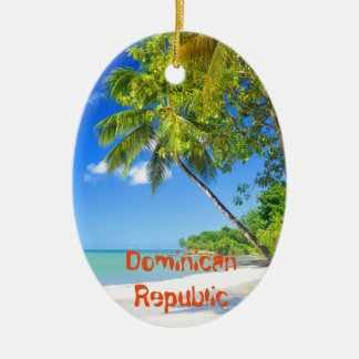 Tropical island in Dominican Republic Ceramic Oval Decoration