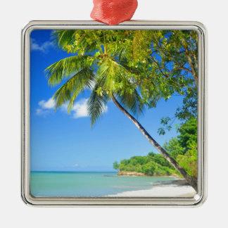 Tropical island in Dominican Republic Silver-Colored Square Decoration