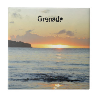 Tropical island in Grenada Small Square Tile