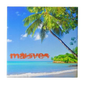 Tropical island in Maldives Small Square Tile